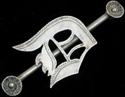 Antique Victorian Sterling Silver Initial D Ornate Engraved Hat Bar Brooch Pin