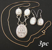Antique Edwardian Italian 3pc Carved Cameo Necklace And Earrings Set, Three Graces