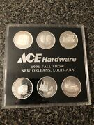 Ace Hardware New Orleans .999 Troy Ounce Silver Set 6 1991 Rare Complete Set