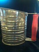 Antique Bromwell's Measuring-sifter Guaranted 5 Five Cups Red Wood Handle