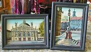 Vintage Miniature Oil Paintings European Towns Cathedral Angels Column 2