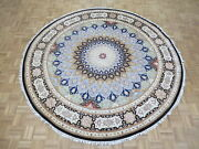 8and0394 X 8and0394 Round Hand Knotted Fine Nain Gombad With Silk Oriental Rug G8029