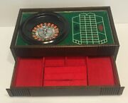 Vintage Wood Jewelry Box With Working Roulette Wheel, Red Interior