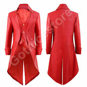 2021 New Halloween Men Steampunk Gothic Victorian Tailcoat Leather Party Coat