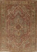Antique Old Heriz Area Rug Hand-knotted Collectible Geometric Carpet 7 X 10