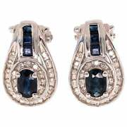 14 Karat Gold French Back Earrings With Diamonds And Blue Sapphires 1.0 Tdw