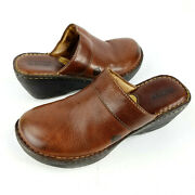 Born Brown Leather Wedge Mules W5634 Womens Size 7 Shoes