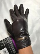 New Isotoner Women Genuine Leather Smartouch Fleece Lined Gloves, Brown M/l 58