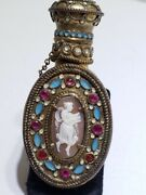 Rare French Victorian Handheld Glass Perfume Bottle With Enamel Jewels And Cameo