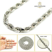 14k White Gold 3.5mm Diamond Cut Mens Womens Rope Chain Necklace 18-24 Inches