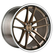 4ea 20 Staggered Vertini Wheels Rfs1.5 Brushed Bronze With Chrome Lip Rims S1