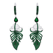 Green Emerald Feather Drop Earrings 14k White Gold Over Sterling Silver