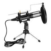 Usb Condenser Microphone W/ Tripod Stand For Game Chat Audio Recording Computer