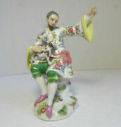 Vintage Meissen 1st Quality Porcelain Figurine Seated Man And Dog