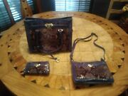 New Brighton Renault Patent Leather Purse W/ Matching Hand Bag Coin Purse Blue