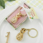 17-144 Gold Pineapple Key Chain - Tropical Wedding Party Favor