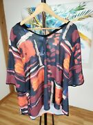 Nwt Women's Joseph A Plus Abstract Print Tie-back Top/size 2x