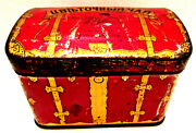 Early 1930and039s Or 40and039s Russian Branded China Tea Tin Box Container Treasure Chest