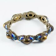 Antique Chinese Export Silver Filigree Bracelet Enamel Butterflies And Tiger's Eye