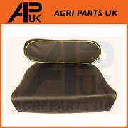 Universal Tractor Black Seat And Backrest Pan Cushion Set + Yellow Piping