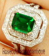 Round Real 1.70ct Diamond 14k Solid White Gold Weddings Anniversary Emerald Ring