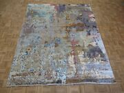 8and0392 X 10and0391 Hand Knotted Multi Color Modern Abstract Oriental Rug With Silk G8226
