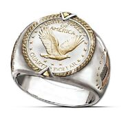Menand039s Ring 925 Silver Gold U.s. Eagle Coins Collector Ring Viking Two Tone Gifts