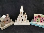 3 Large Antique Vintage 1930s Christmas Japan Cardboard Putz Houses And Church