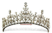 13.10ct Rose Cut Diamond Silver 925 Pearl Party Look Victorian Style Tiara Crown