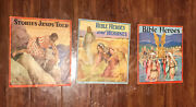 Lot Of 3 Vtg 1940s Childrens Religious Cloth Bible Stories Books Magazines