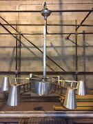 Industrial Space Age Chandeliers Brushed Aluminum And Brass - We Do Freight