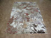8and03911 X 12 Hand Knotted Modern Abstract Multicolor Oriental Rug With Silk G8222