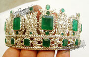 Queen Style Emerald Tiara 16.50ct Antique Rose Cut Diamond Sterling Silver 92.5