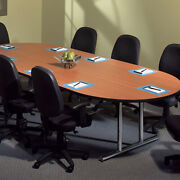 6 Ft - 10 Ft Conference Table And 8 Chairs Set Office Room Racetrack New