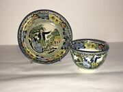 Staffordshire Salopian Pearlware Cup And Saucer Shepherdess Cottage Ca. 1820