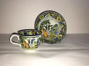 Staffordshire Salopian Pearlware Cup And Saucer Shepherdess Cottage Ca. 1820 B