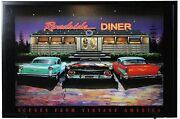 Unique Vintage America Led Light Up Picture Wall Art 1950s Muscle Car And Diner