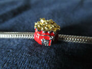 925 Silver Unbrand Red/gold Enamel Chinese Lucky Fortune Cookie Europe Charm