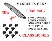 Front Bumper Center Amg Mesh Grille With 10 Mounting Clips For Mercedes W203 C
