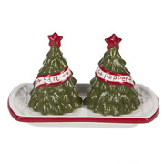 Ganz Christmas Tree Salt And Pepper Shaker Set With Tray 3 Pc. Set New Er5978