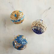 Pier 1 Imports Blue And Gold Beaded Hanukkah Ornaments - Set Of 3