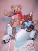 New 2005 Steiff Teddy Bear And Vespa Motor Scooter Set Only 1500 W/sidecar And Box