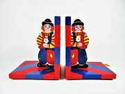 Sevi Clown Bookends 1831 Italy Hand Painted Wooden Childrens Room Shelf Decor