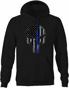 Patriot Skull Tactical Grey Thin Blue Line Police Hoodies For Men