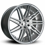 4ea 22 Staggered Road Force Wheels Rf11 Silver Brush Rims S3