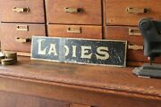 Antique Victorian Hand Painted Tin Saloon Bar Ladies Restroom Advertising Sign