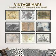 Vintage Maps - All Cities Available - Poster Print Art Old Street Map City Town