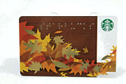 Starbucks Coffee 2011 Gift Card Leaves Fall Brown Gold Braille Zero Balance