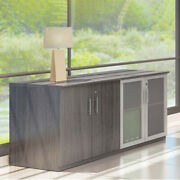 Modern Low Wall Credenza Glass And Wood Doors New
