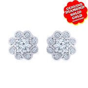 1/2 Ct Natural Diamond 14k White Gold Floral Bloom Stud Earrings